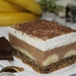Placek z bananami i czekoladą